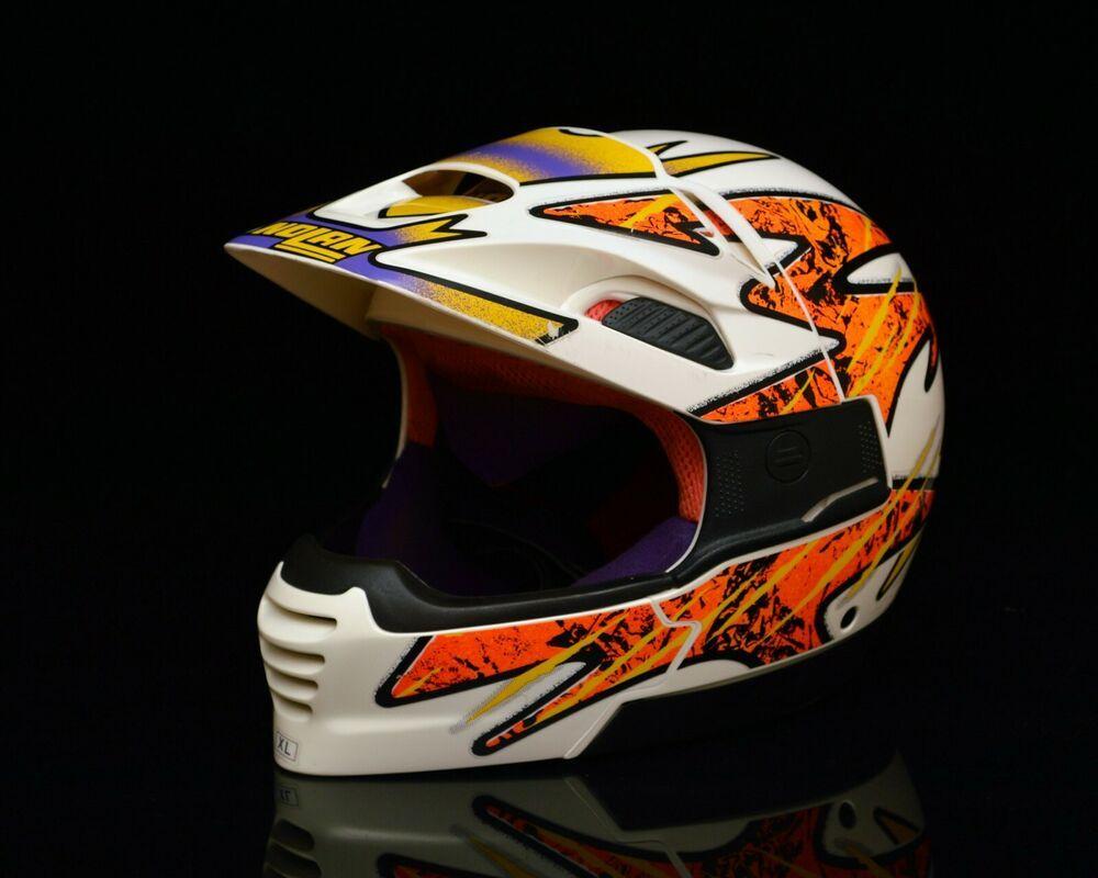 Rad Neon Vintage 90s Nolan N50c Motocross Enduro Biker Motorcycle Helmet Xl Nolan Motorcycle In 2020 Motorcycle Helmets Motocross Helmet