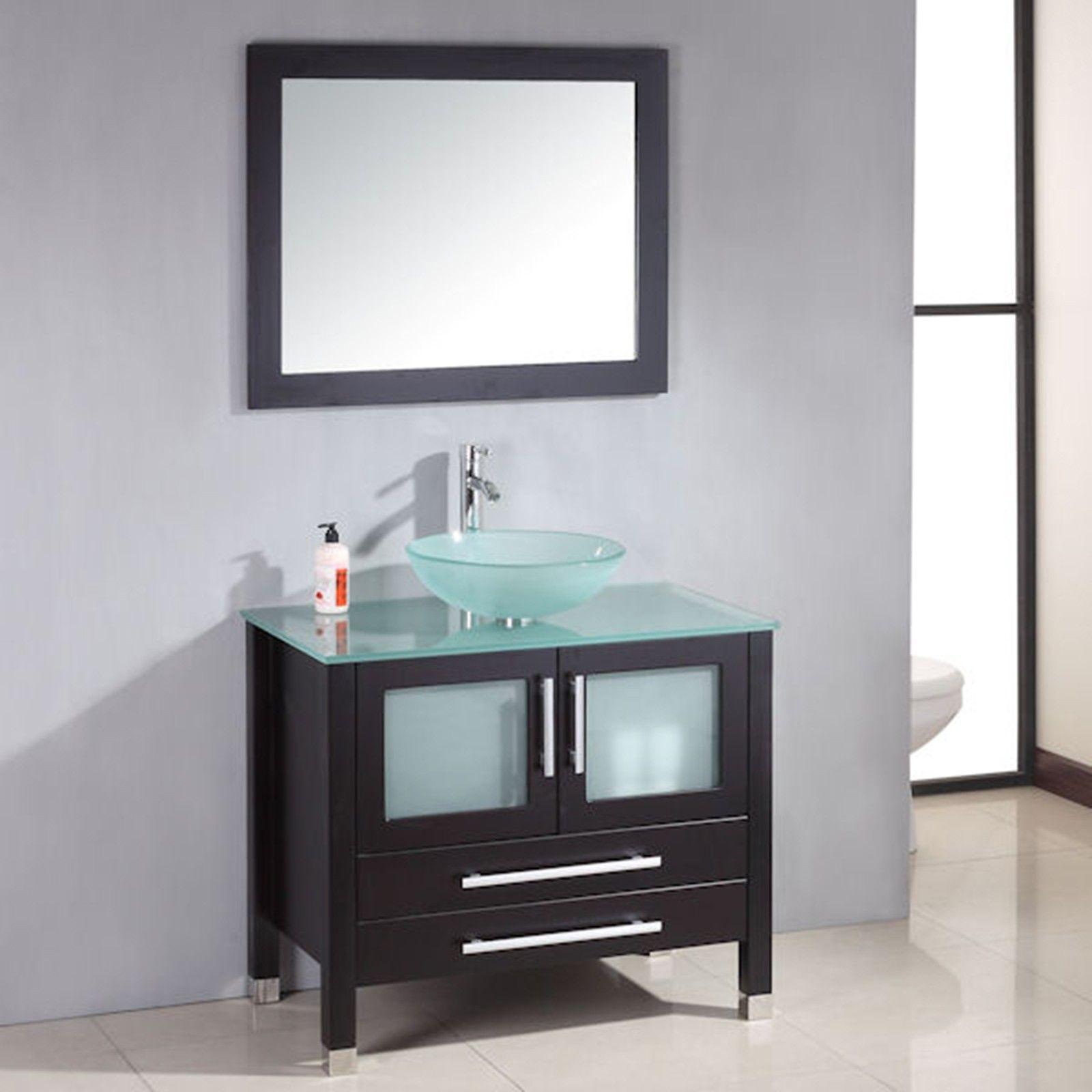 36 inch Wood & Glass Vessel Sink Bathroom Vanity Set, | Main ...