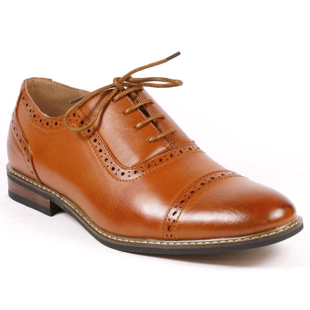 Metrocharm ALEX-03 Mens Perforated Lace Up Cap Toe Oxford Dress Shoes