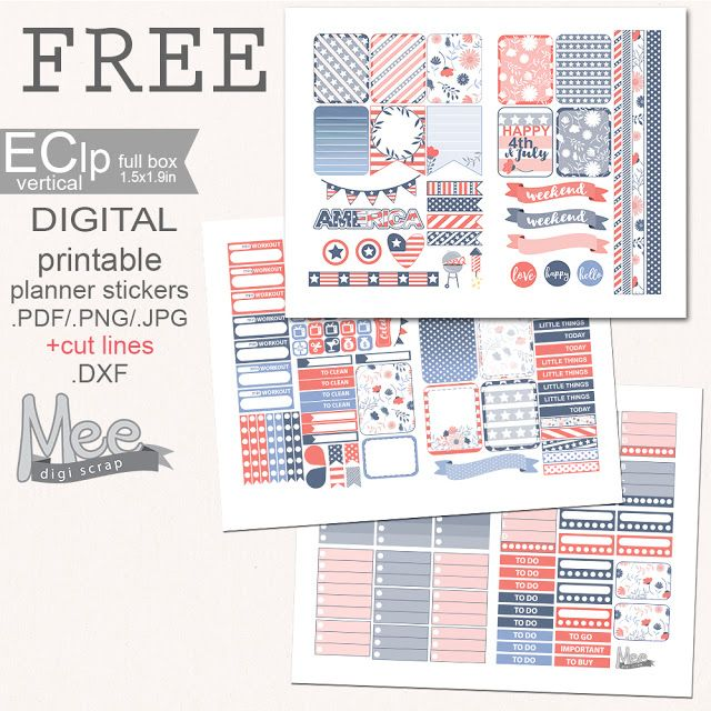Mee scrapbook kits free download: Free planner stickers- 4th of July