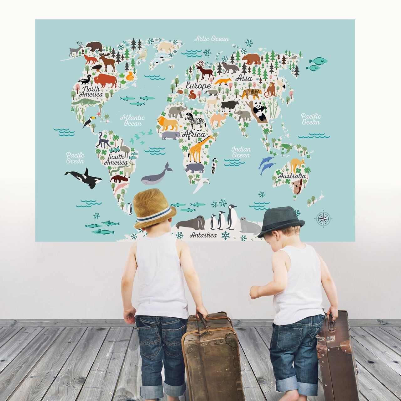 World map wall decal peel and stick vinyl or fabric animals world map wall decal peel and stick vinyl or fabric animals sticker world kids gumiabroncs Images
