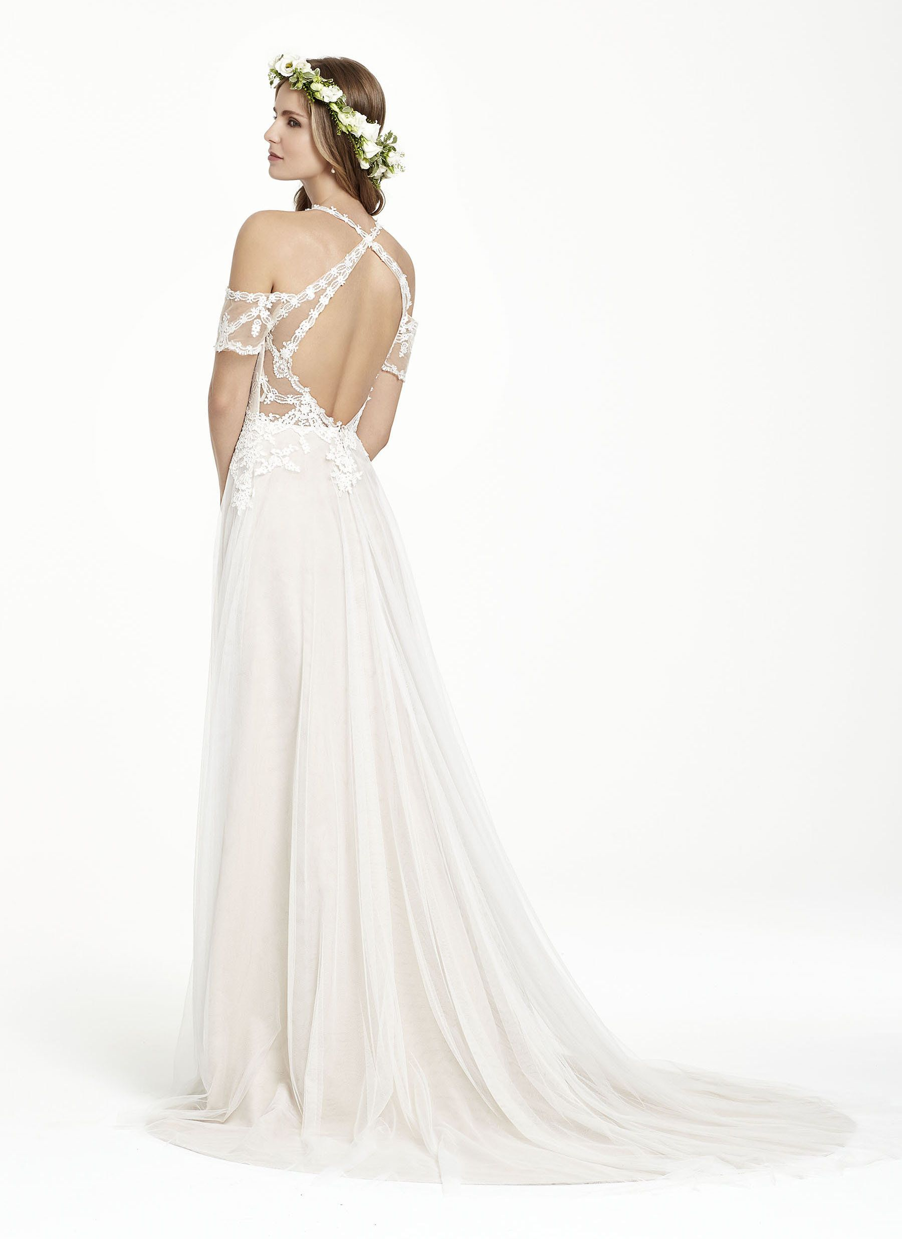 English net aline bridal gown sweetheart neckline with shoulder