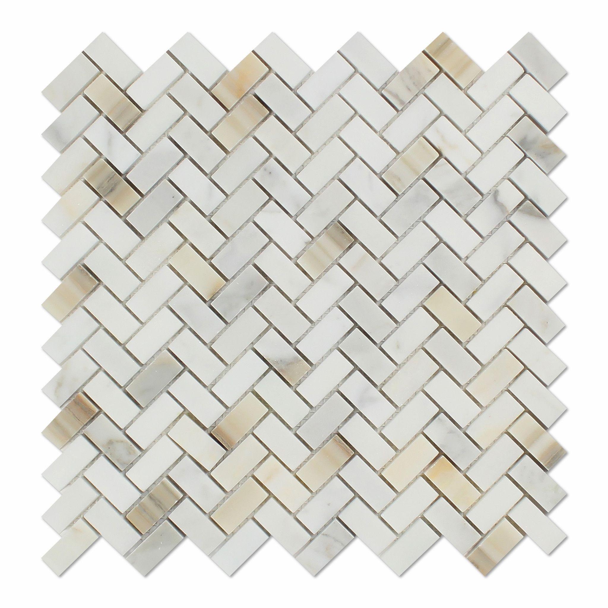 - Calacatta Gold Marble Polished Mini Herringbone Mosaic Tile