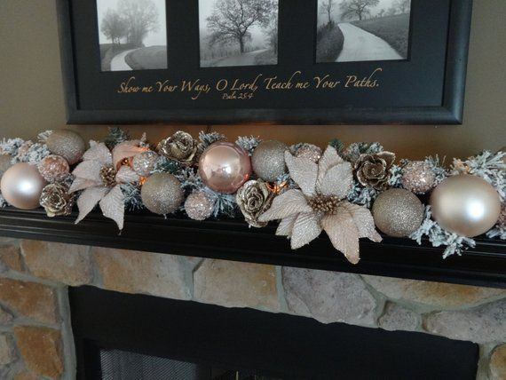 Rose Gold Christmas Garland Christmas Decoration Mantle Decor