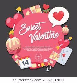 Sweet Valentine Day Vector Illustration Love Heart 14Feb