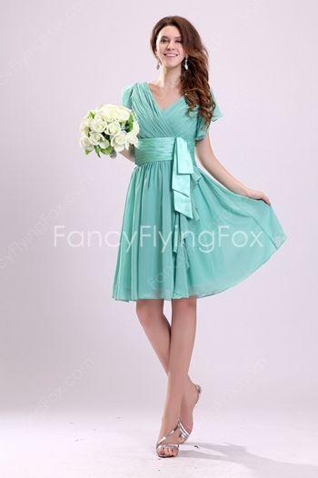 V Neckline Short Sleeves Aqua Chiffon Knee Length Bridesmaid Dresses With Sash
