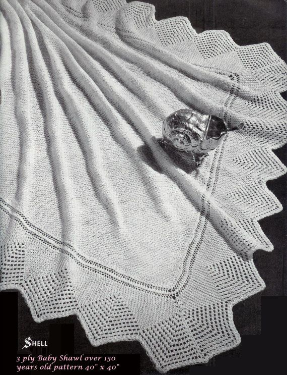 Baby Heirloom 3 Ply Shell Lace Border Shawl Size 40 X 40 Ins Pdf