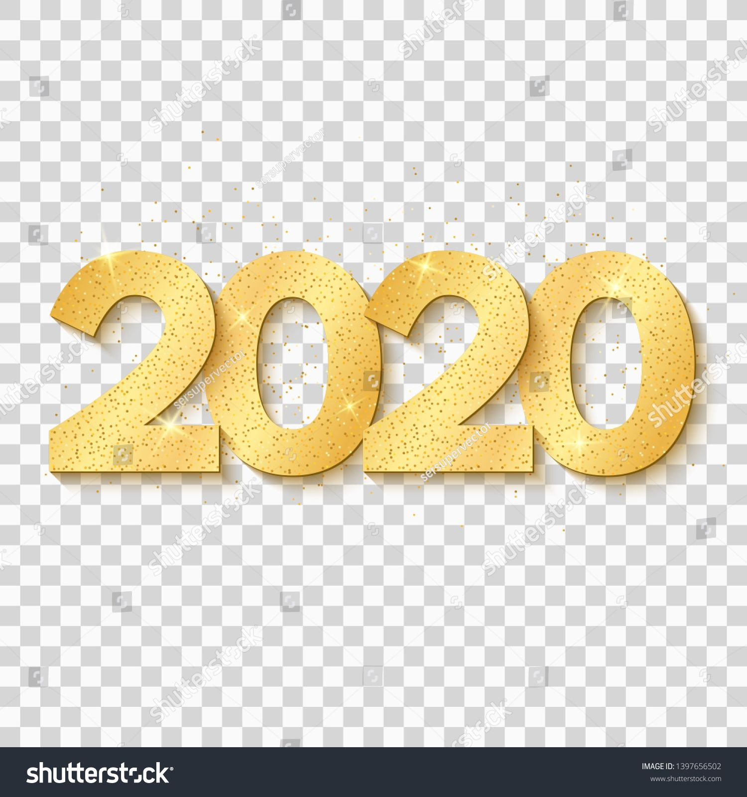 2020 New Year. Golden confetti. Golden numbers isolated on
