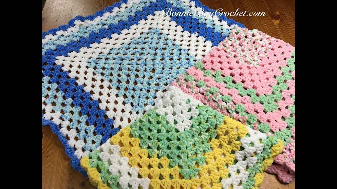 Easy beginner granny square baby blanket with bonnie
