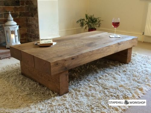 Oak Beam Sleeper Coffee Table Solid Rustic Handmade Chunky Wood Unique Ebay