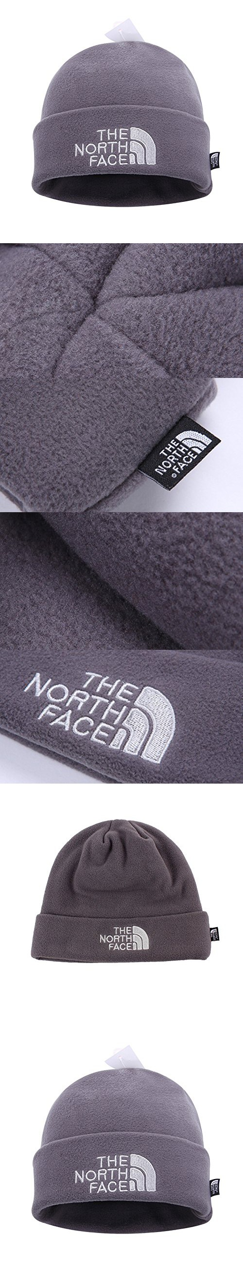 5adb61f968a74 The North Face Double Layers Winter Thicken Polar Fleece Thermal Beanie Hat  (Gray