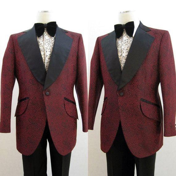 Tuxedo Jacket Vintage 70s Paisley Brocade Black & Red 40 | Vintage ...
