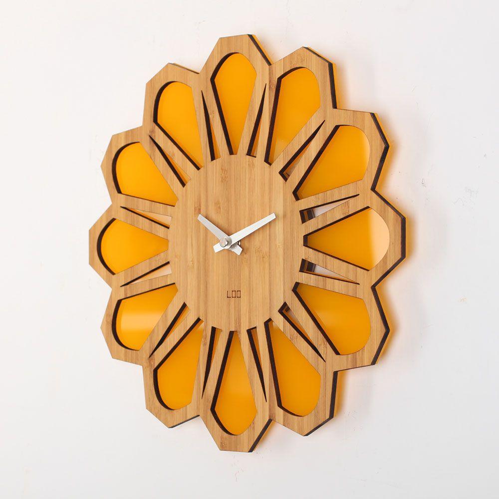 Loo Wall Clock Retro 70s In 2020 Clock Wall Clock Design Bamboo Wall