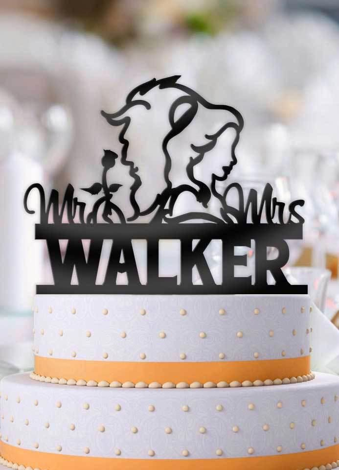 A Beauty and Her Beast With Last Name Wedding Cake Topper