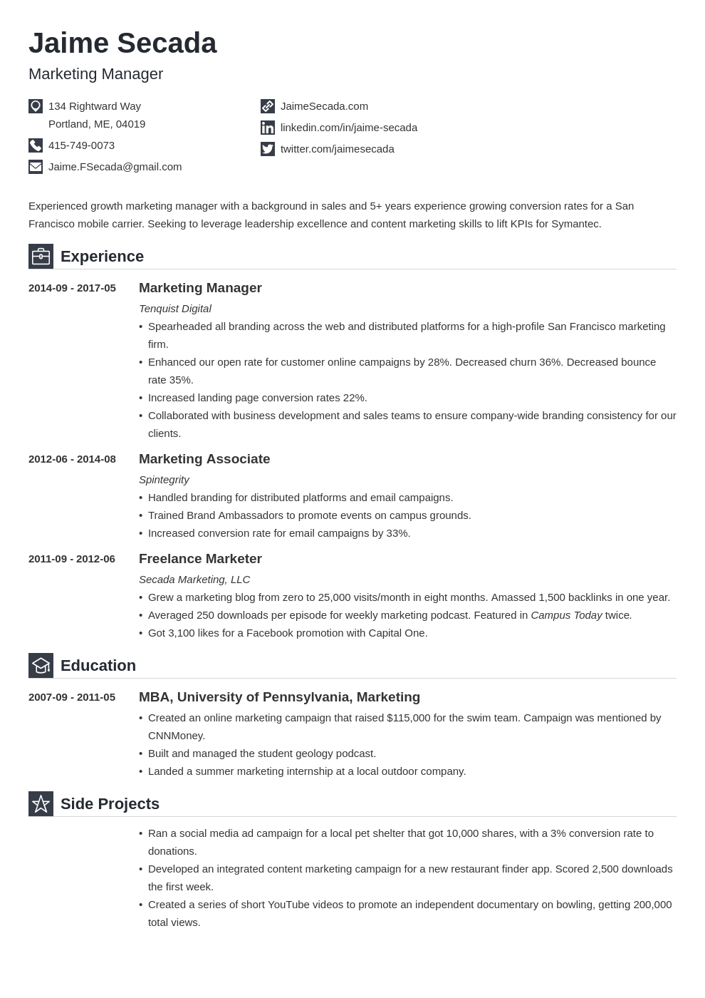 Marketing Manager Resume Example Template Iconic Resume Examples Manager Resume Job Resume Examples