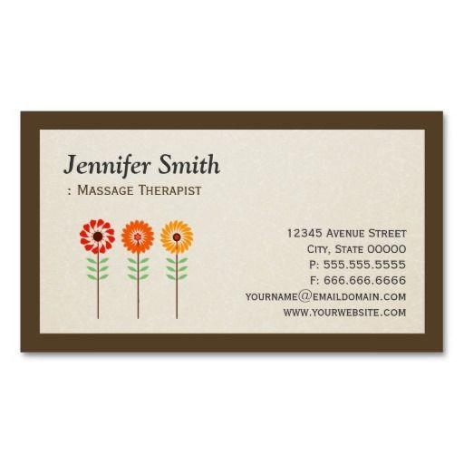 Massage Therapist - Simple Elegant Sunflowers Business Card