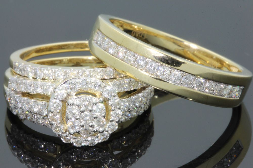 Diamond Trio His Her Bridal Wedding Band Engagement Ring Set 14k Yellow Gold Fn