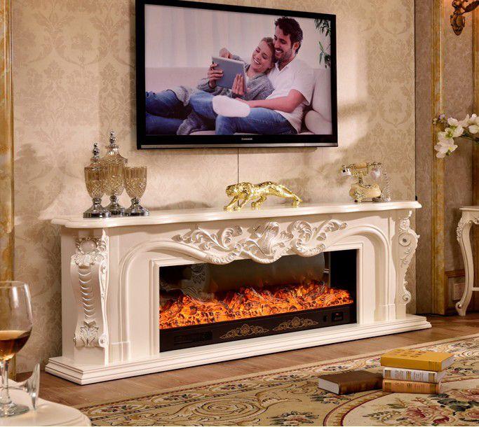 Wohnzimmer Schmücken Erwärmung Kamin Holz Kaminsims W200cm  Elektrokamineinsatz LED Optische Künstliche Flamme