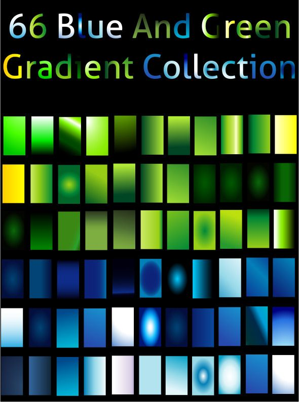 Blue And Green Gradient Collection For Illustrator \u2014 JPG Image