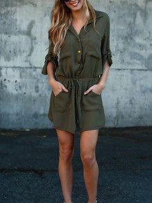 b6a9b8c8b54 Army Green Dress Button Down Waist Drawsting Pockets Dress