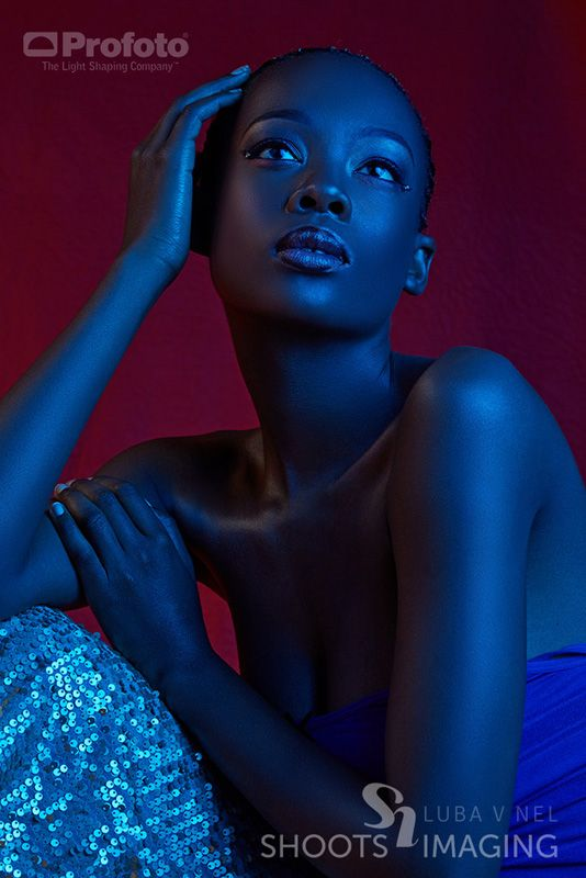 The Dark Skin Of Our African Models Are Perfect For Gelled Lights This Setup We Place Model Boitumelo Lefatola In Front A Faux Red Leather