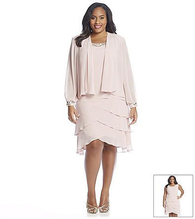 ad7ea7a3c38 S.L. Fashions Plus Size Beaded Jacket Shutter Dress