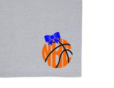 Basketball Monogram Blanket with Glitter Bow