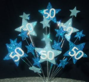 STAR AGE 50TH BIRTHDAY CAKE TOPPER IN SHADES OF BLUE Cakepins