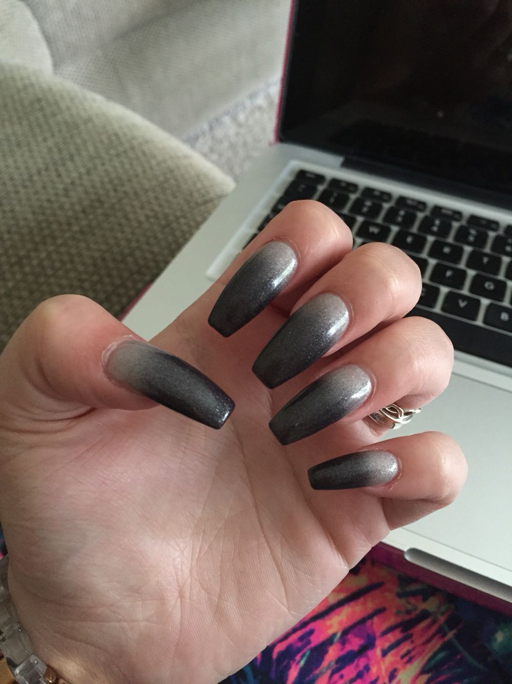 Grey To Silver Color Changing Coffin Nails