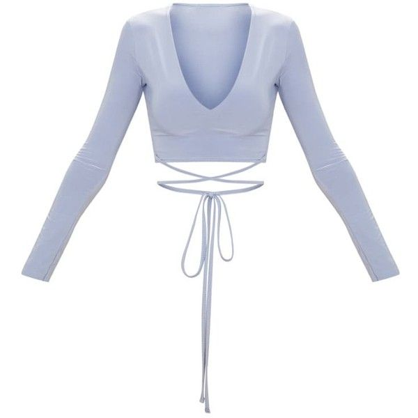 1482dcbf9fd6a8 Powder Blue Slinky Long Sleeve Tie Waist Crop Top ( 17) ❤ liked on Polyvore  featuring tops