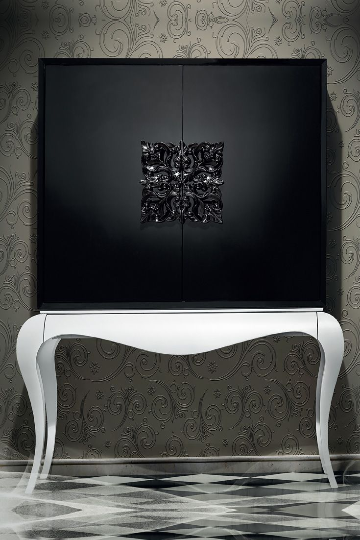 Contemporary black and white luxury cocktail cabinet simple