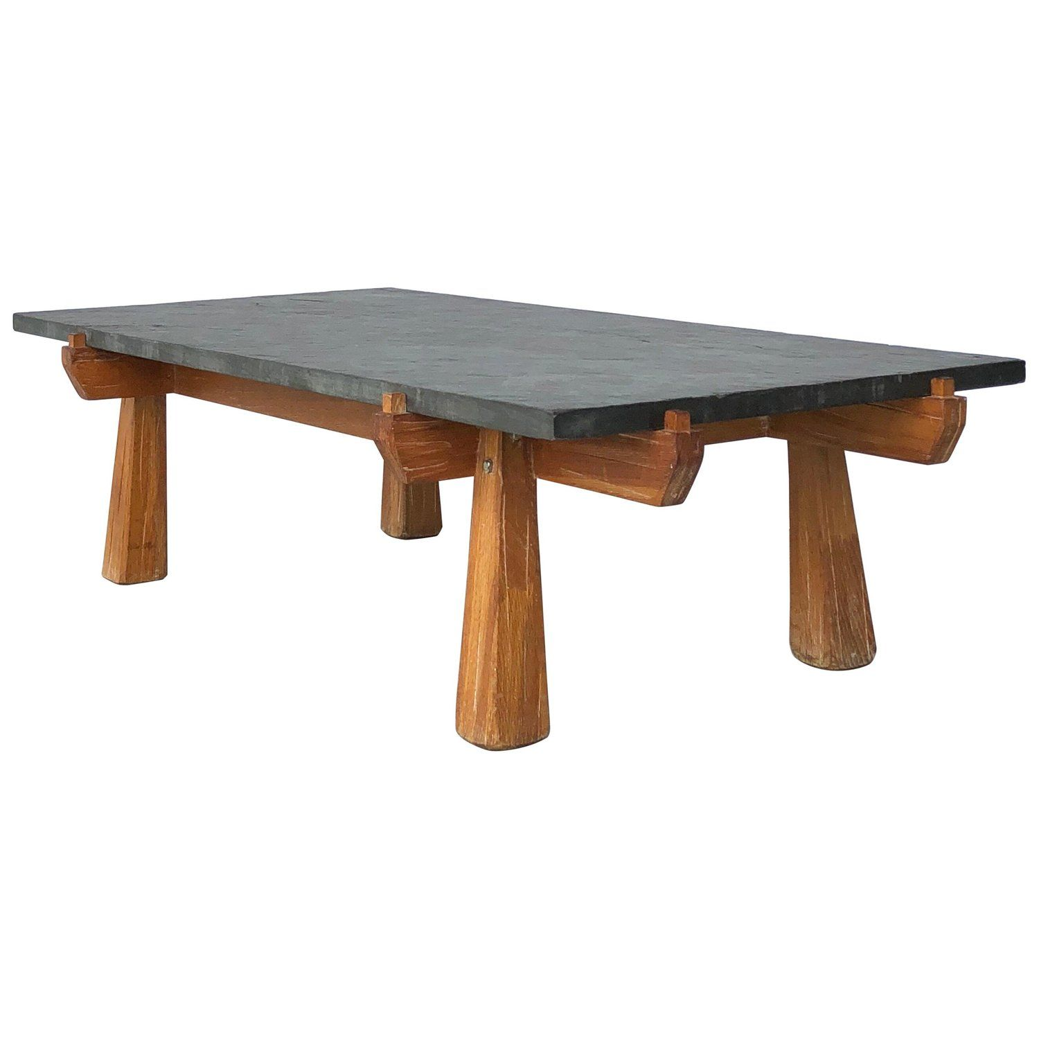 Cerused oak and slate french midcentury coffee table mid