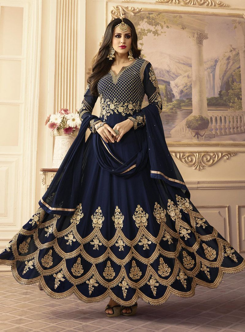 31fc399ffd Buy Navy Blue Georgette Long Anarkali Suit 119281 online at lowest price  from vast collection at m.indianclothstore.c.