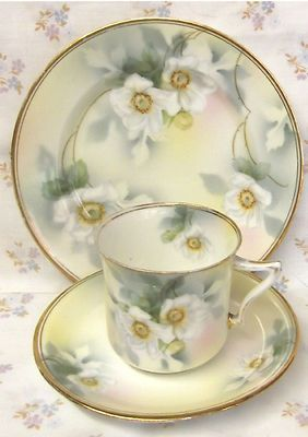 """c.1850. HAND PAINTED BLUSHWARE TRIO. """"ANGLO - POLAND - WARE."""