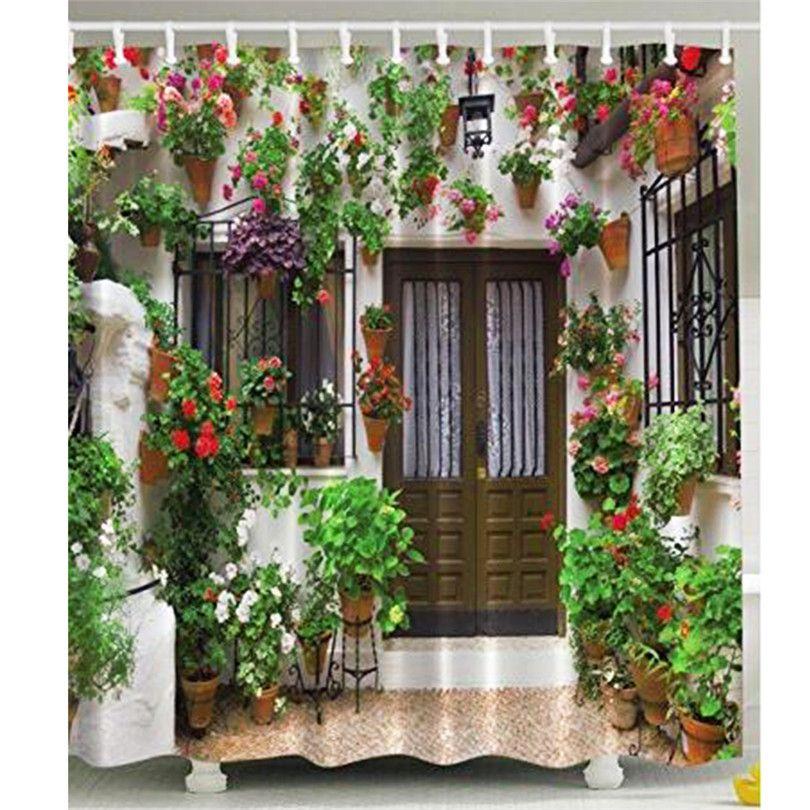 Beautiful Garden Home Decor Shower Curtain Waterproof Polyester Fabric Bathroom Curtain Festive Decoration Home Living Decor