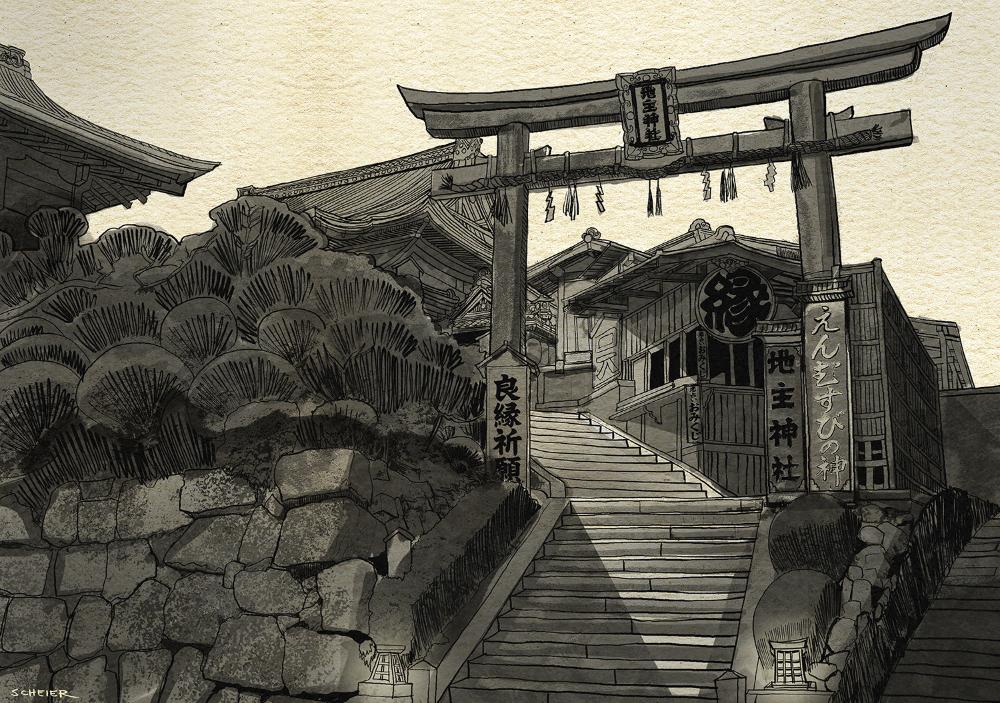 artstation the old stairway jason scheier japanese drawings building sketch japanese dojo