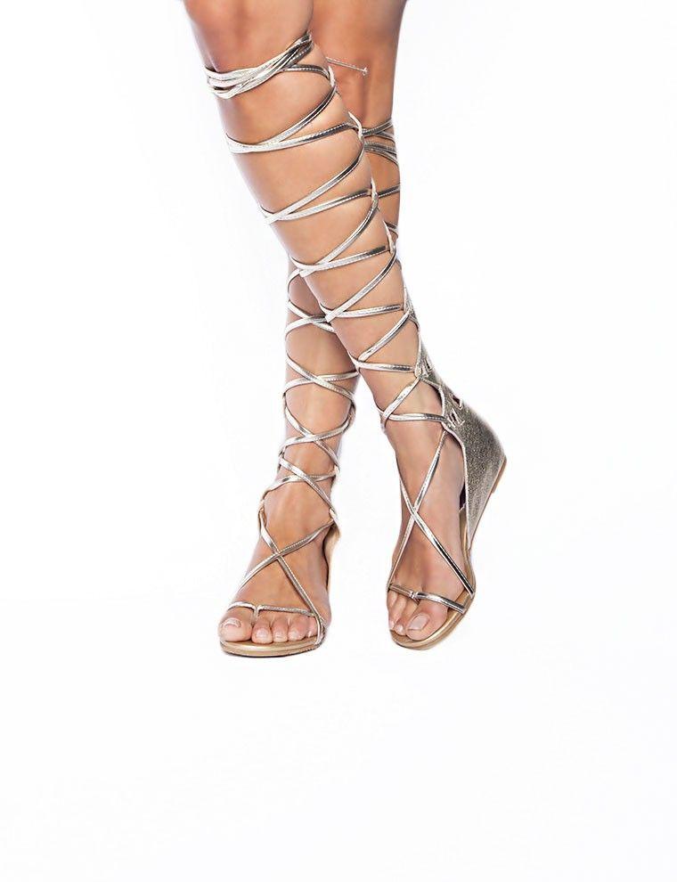 Gold Knee Length Gladiator Sandals