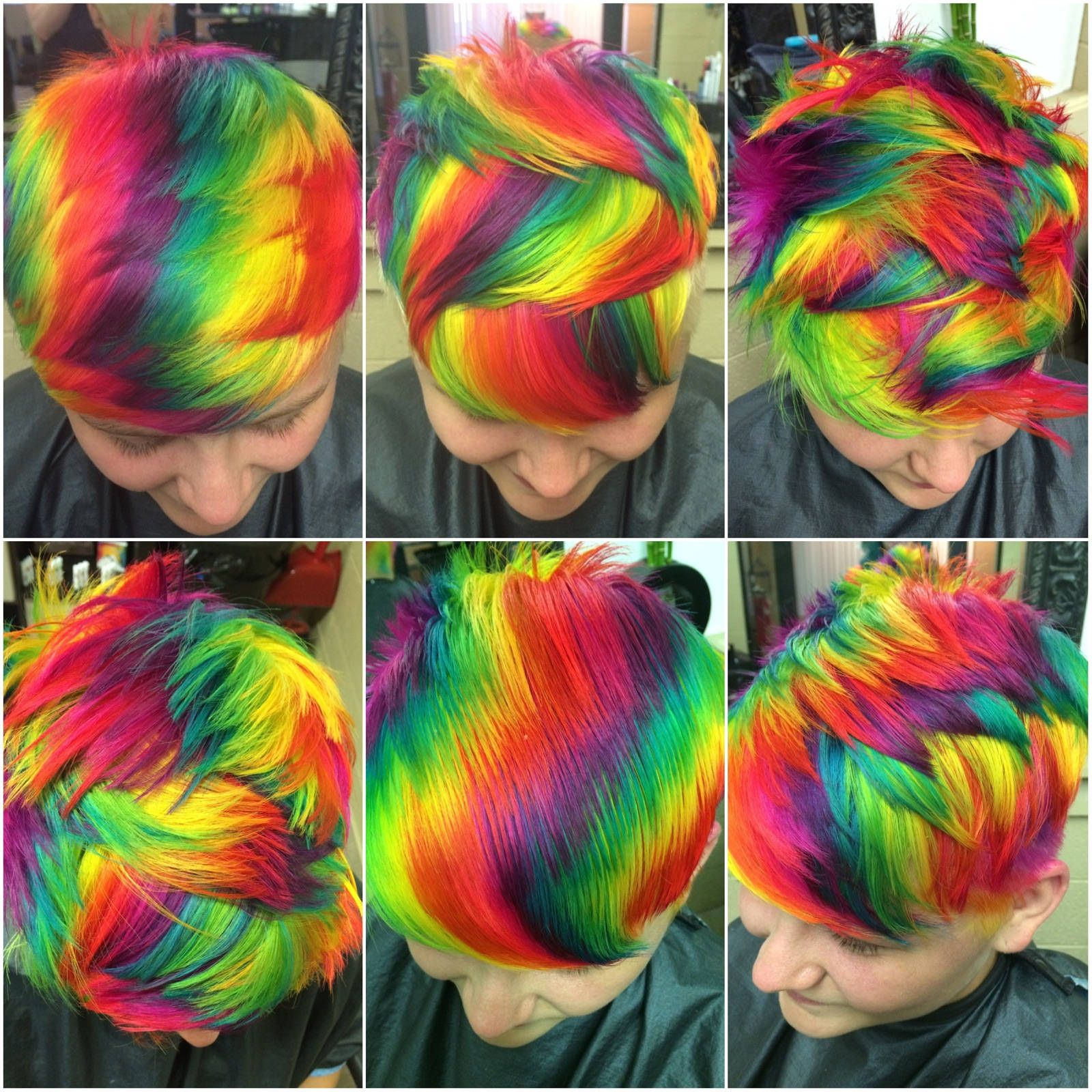 Www Outrageousrainbows Com With Images Short Rainbow Hair