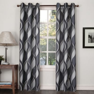 Swerve Print Grommet Window Curtain Panels   BedBathandBeyond.com