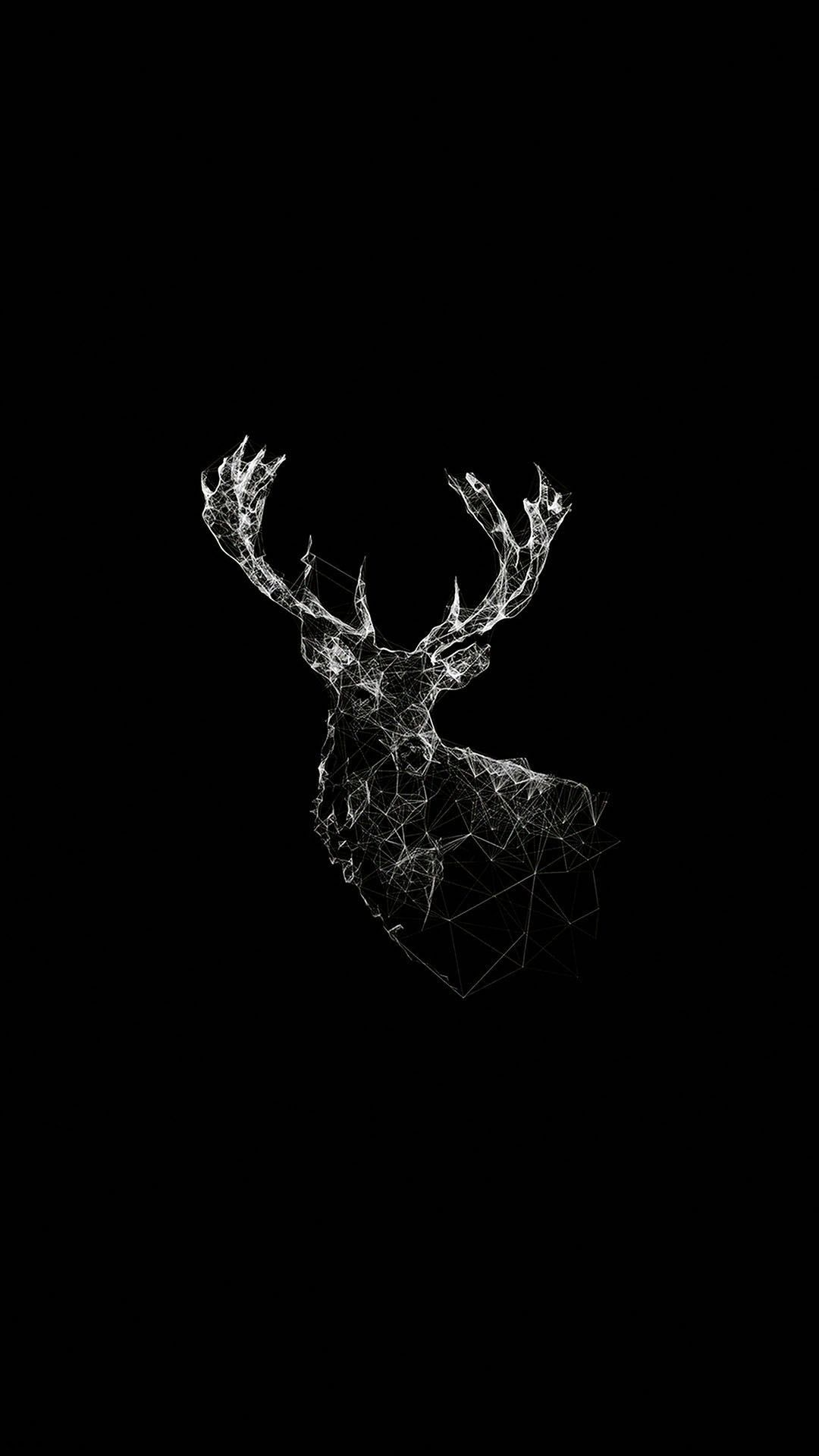 low poly deer illustration android wallpaper