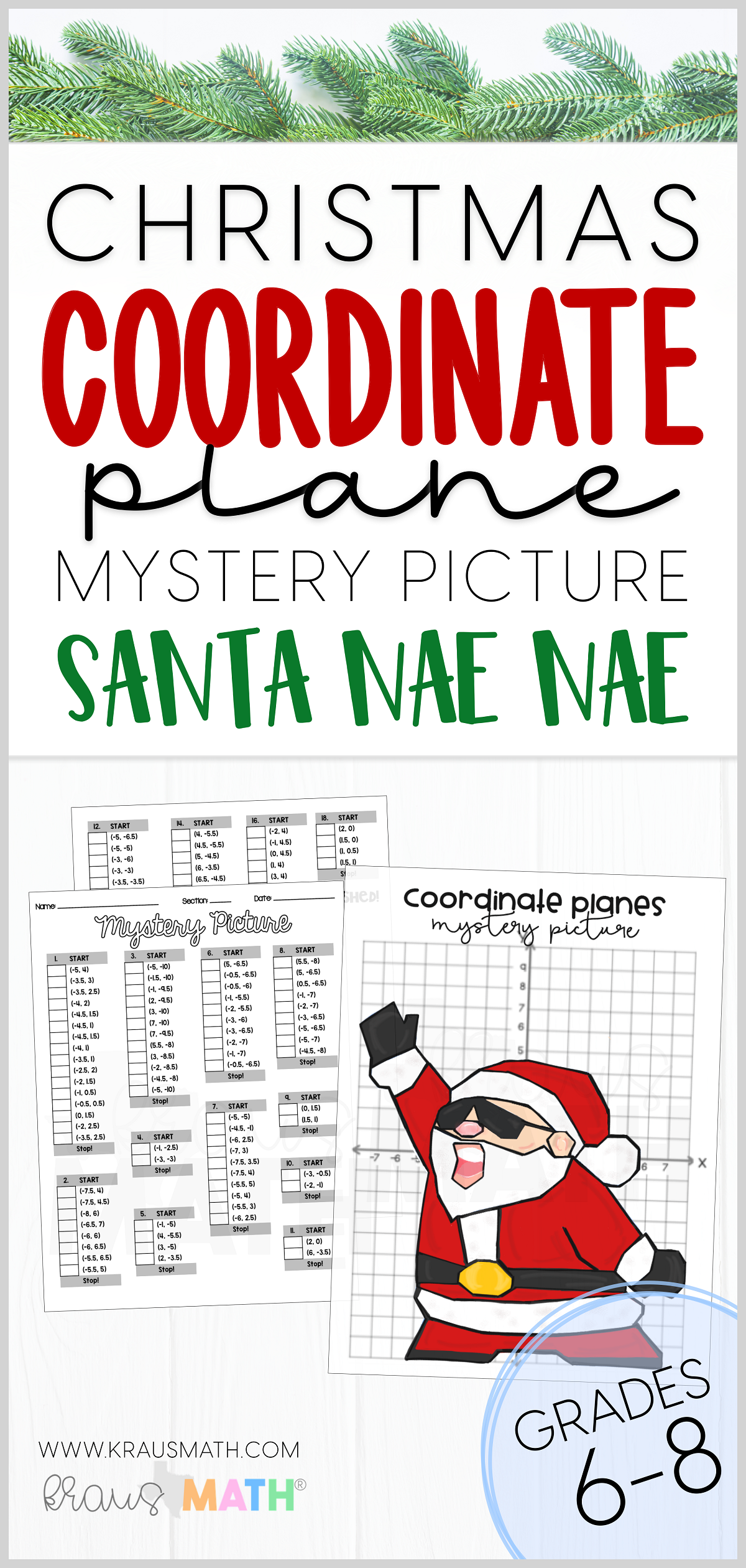 Santa Watch Me Nae Nae Coordinate Plane Activity 4