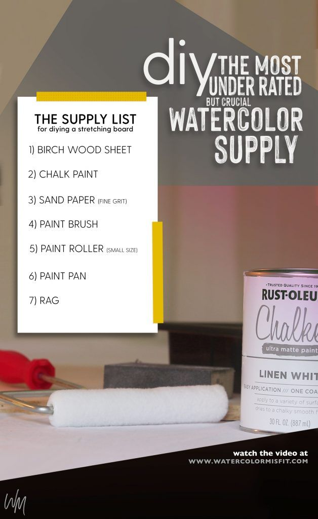 The Supply List To Make Your Own Watercolor Stretching Board In