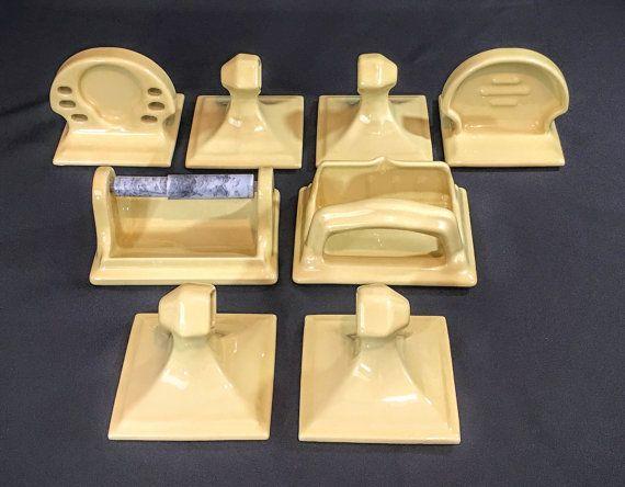 Retro Bathroom Ceramic Tile Accessories Set Soap Dish Towel Bar Posts Toothbrush Holder More Mid Century Modern Decor Harvest Gold Vintage Bathroom Tile Vintage Tile Tile Accessories