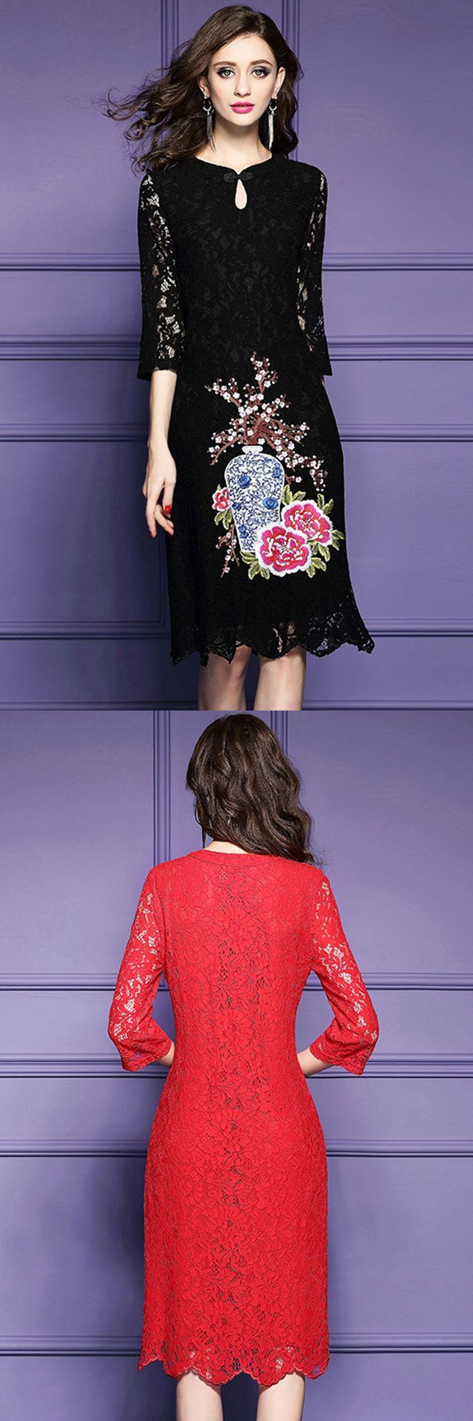 Red lace embroidery wedding guest dress for fall with lace sleeves