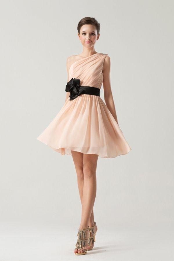 Short One shoulder Empire Sash Ruching Pink Bridesmaid Dress [BS0008 ...