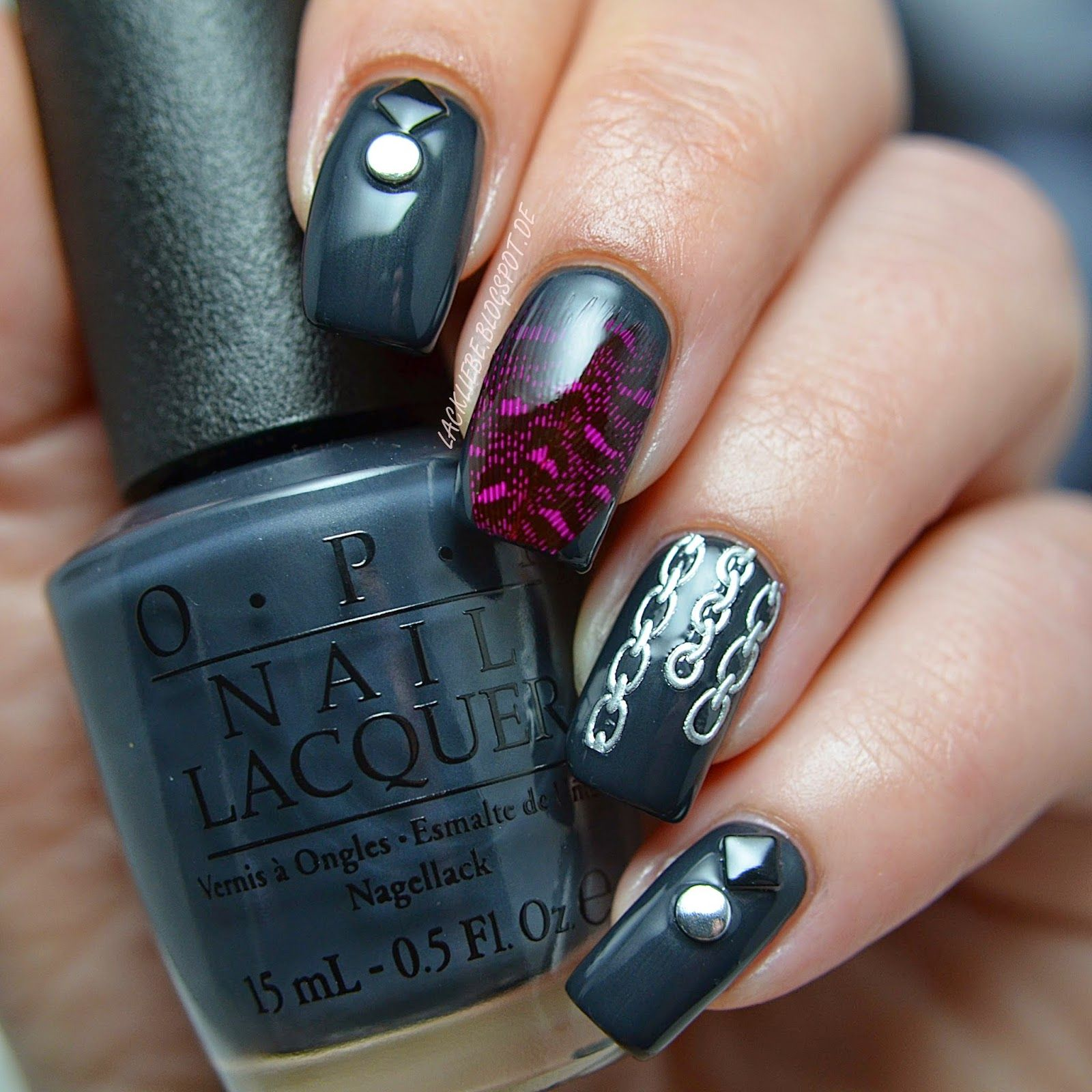 lackliebe: fifty shades of grey nail art | nails | pinterest