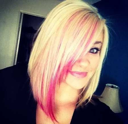 Blonde Colored Hair With Pink Bangs Short Hair Color Hair Styles