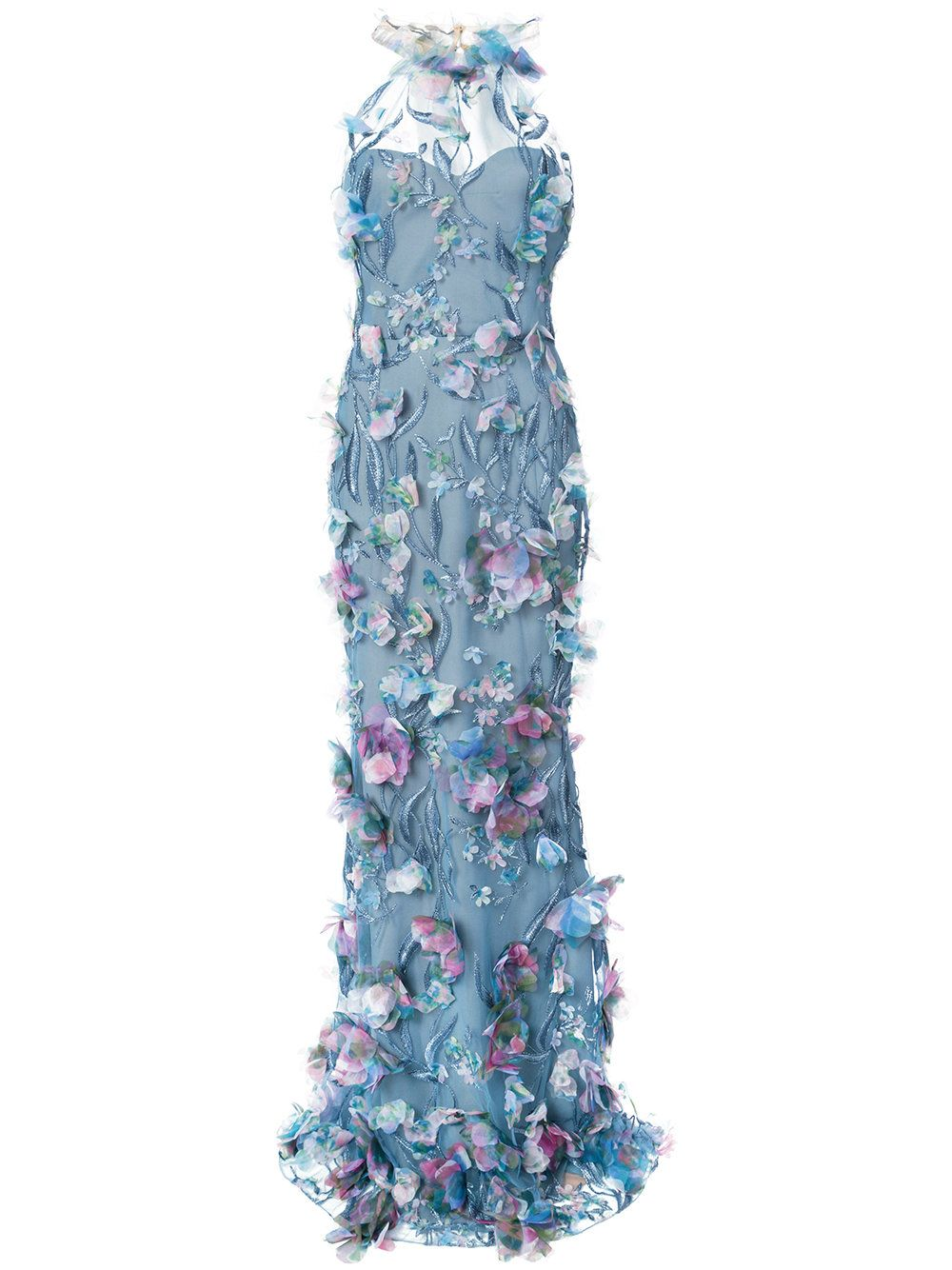 Marchesa Notte embroidered floral-appliquéd gown ...