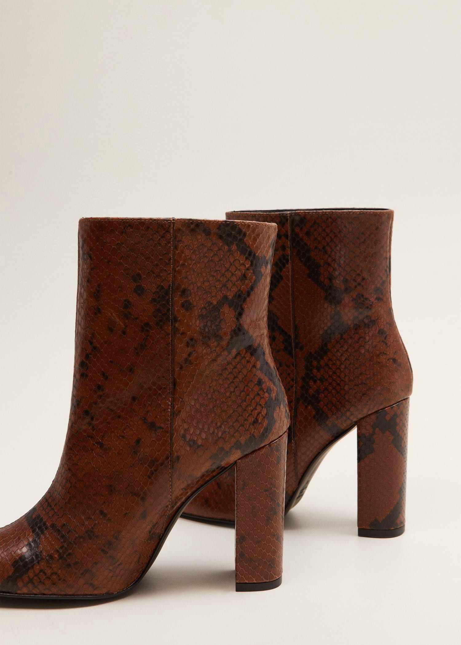 Snake Leather Ankle Boots By Mango Products Leather Ankle Boots