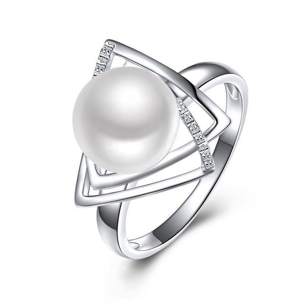 925 STERLING SILVER RING LADIES DOUBLE OPEN PEARL SZ 5 TO 9 AVAILABLE